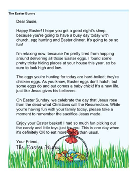 Printable Religious Easter Morning Letter From The Easter Bunny Free Religious Letter Template