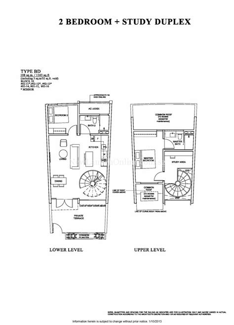 The Venue Residences Floor Plan - 2 Bedroom+Study Duplex