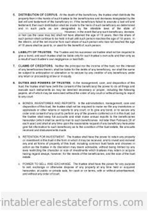 real estate trust agreement forms  printable word