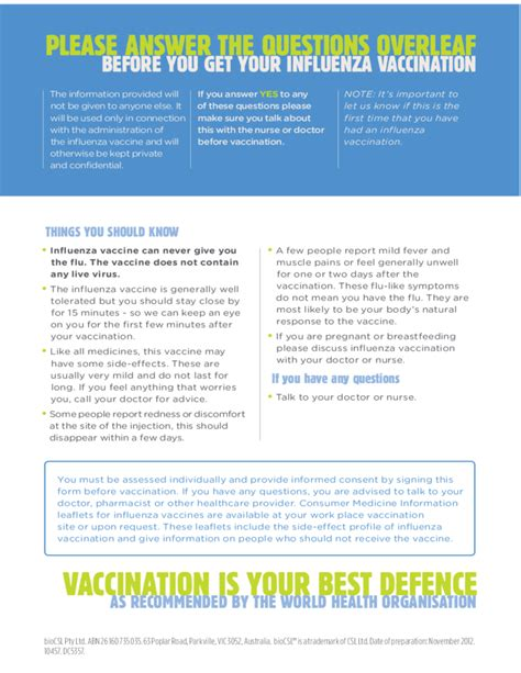 Influenza Vaccine Consent Form Free Download Flu Vaccine Consent Form Template