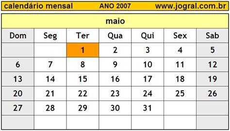 Calendario Mayo 2007 Calend 225 Mensal Maio De 2007 Imprimir M 234 S De Maio 2007