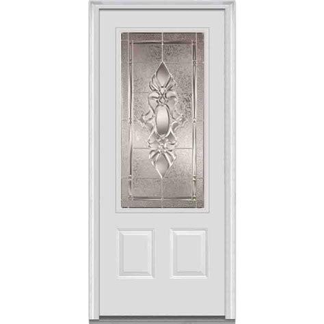 Steel Glass Panel Exterior Door Milliken Millwork 37 5 In X 81 75 In Heirloom Master Decorative Glass 3 4 Lite 2 Panel Primed