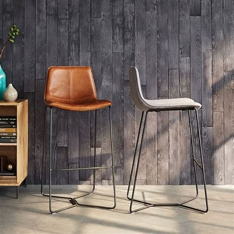 West Elm Kitchen Stools by Slope Leather Bar Counter Stools Dining Room