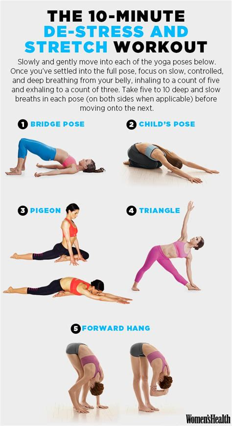 printable yoga poses for stress a 10 minute workout that will make you feel totally
