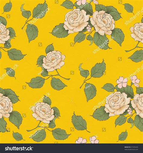 yellow vintage pattern seamless wallpaper pattern with vintage beige rose on