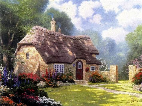 kinkade cottage painting cottage in the forest kinkade painting summer
