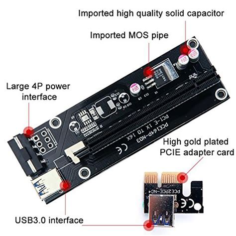 Pcie Pci E Riser Card Ver 008s 1x 6pin For Bitcoin Mining 1 pack pcie riser cable ver 006 or ver006c pci e 16x to 1x