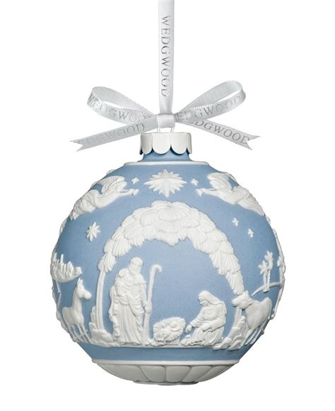 wedgewood blue nativity scene ball holidays christmas