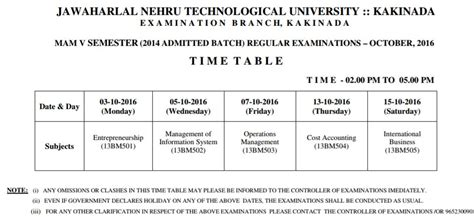 Jntuk Mba 2nd Sem Results 2015 Manabadi by Jntuk Mam V Sem Regular Examination Time Table Oct 2016