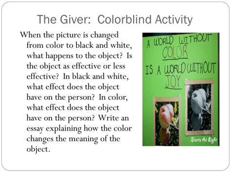 what does comfort object mean in the giver ppt the giver color activity powerpoint presentation