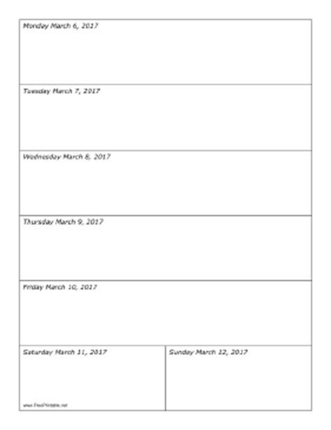 Calendar 2017 Printable Portrait Printable 03 06 2017 Weekly Calendar Portrait