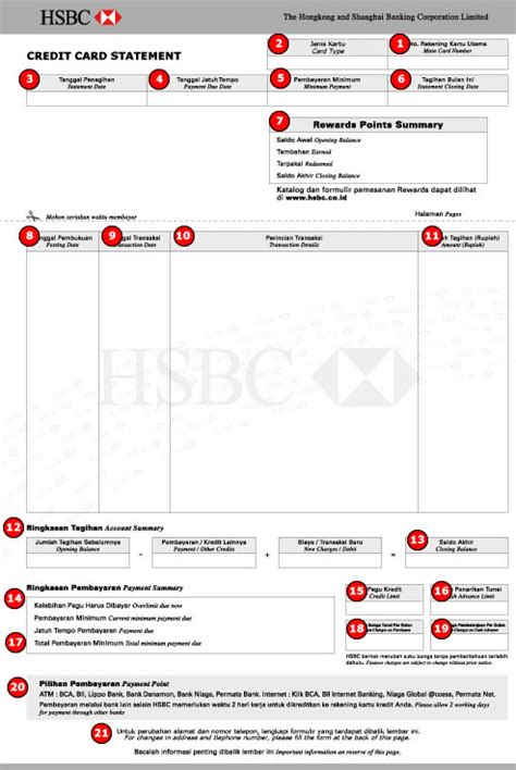 Credit Card Form Hsbc How To Read Statement Hsbc Indonesia