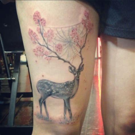animal tattoo on leg beautiful mystical deer with tree on horns animal leg
