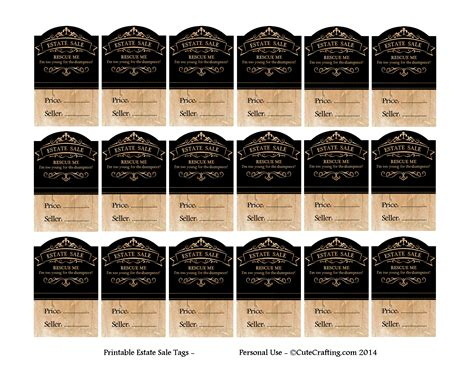Free Printable Garage Sale Price Tags by Diy Printable Price Tags Estate Sale