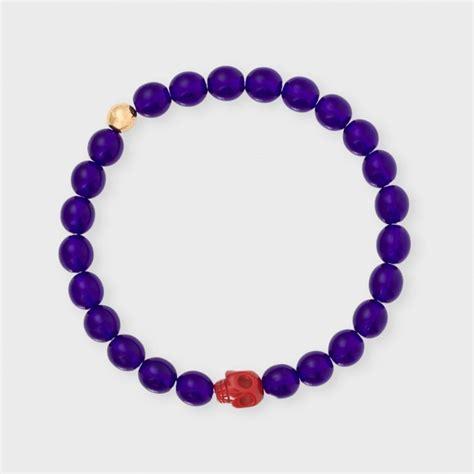 purple beaded bracelet paul smith s violet beaded skull bracelet in purple