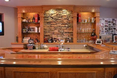home back bar ideas stone accent wall on back of bar ak britton construction llc