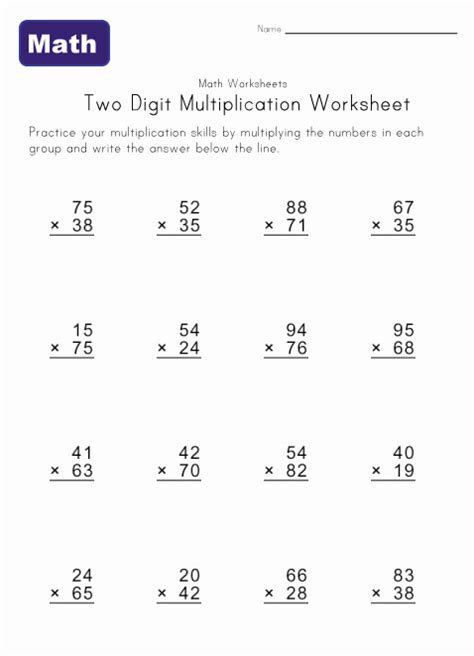 printable math worksheets double digit multiplication two digit multiplication worksheets kids learning station