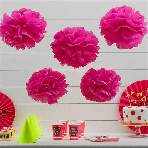 Paper Pom Poms - neon pink tissue paper pom poms by