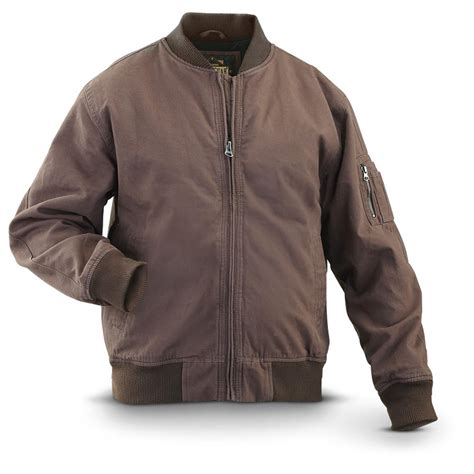 Jaket Canvas Brown Hoodie guide gear 174 canvas bomber jacket brown 297189 insulated jackets coats at sportsman s guide