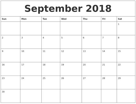 2018 Printable Monthly Calendar September 2018 Monthly Printable Calendar