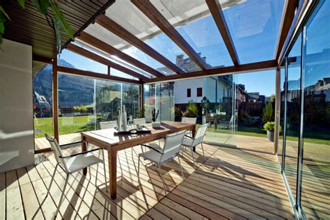 Homes Interior Decoration Ideas glass veranda and wooden beams interior design ideas