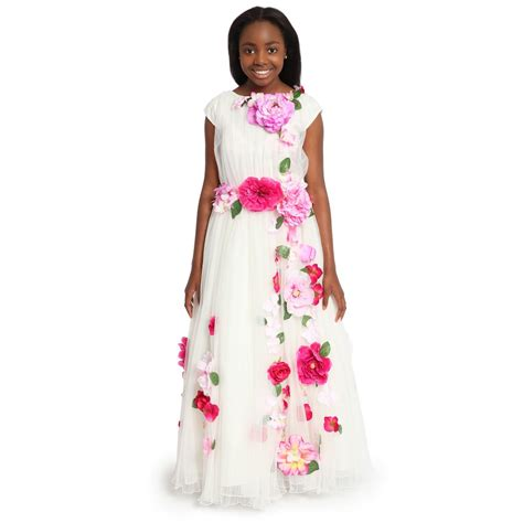 lesy luxury flower luxury white tulle dress with pink flowers childrensalon