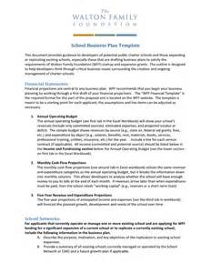 school business plan template in word and pdf formats