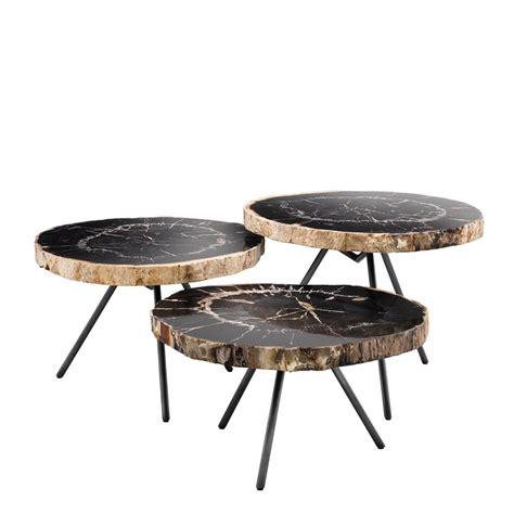coffee table set of 3 de soto petrified wood coffee table set of 3