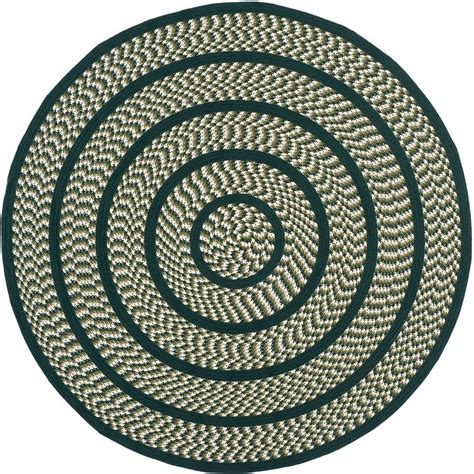 Safavieh Braided Ivory Dark Green 6 Ft X 6 Ft Round Area 6 Foot Area Rugs