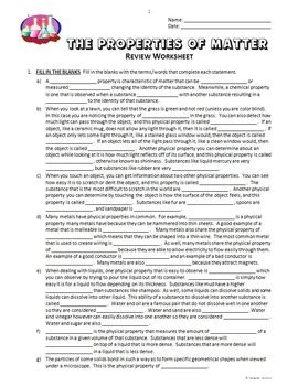 Matter Review Worksheet by Properties Of Matter Review Worksheet Editable By