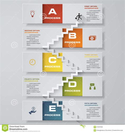 stepping design templates abstract business chart 5 steps from lower to steps