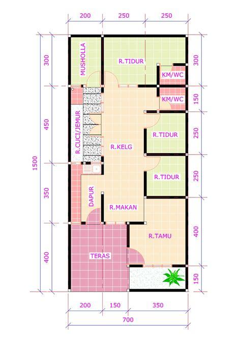 desain rumah 3 kamar mushola denah rumah 3 kamar tidur 1 mushola minimalis