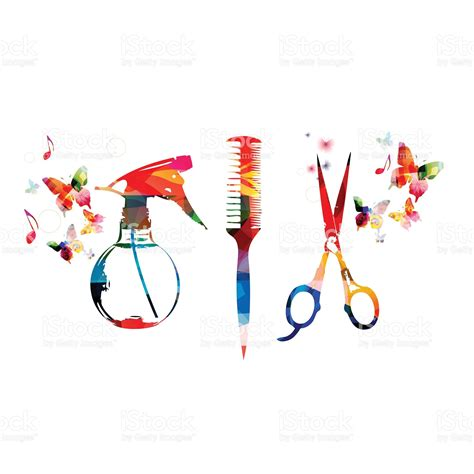 hairdressing tools background with colorful comb scissors