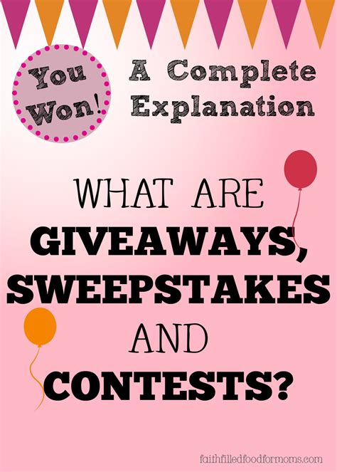 Legit Sweepstakes And Contests - what are giveaways sweepstakes and contests faith filled food for moms