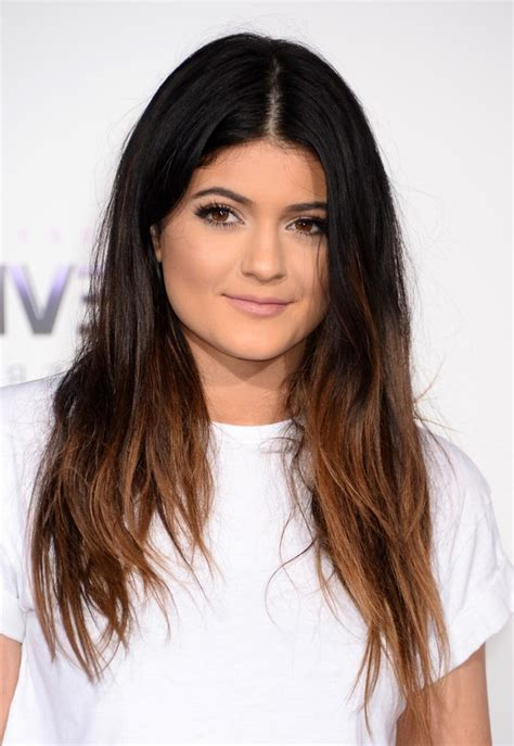 kylie jenner casual black to brown ombre hair for round