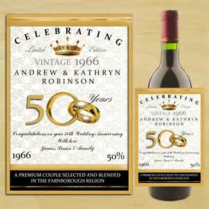personalised golden 50th wedding anniversary wine