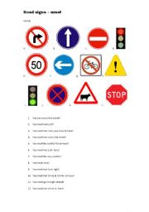 printable uk road signs flash cards english worksheet must and road signs