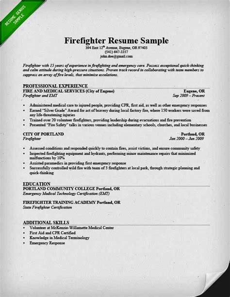 Example Summary For Resume Of Entry Level entry level firefighter resume resume template cover