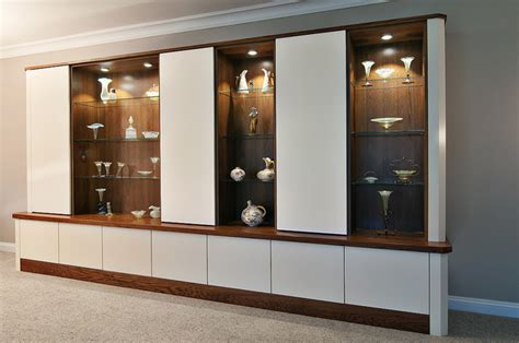 Glass Cabinets Living Room by Conquest Bespoke Cabinets Wood And White Glass Shelves