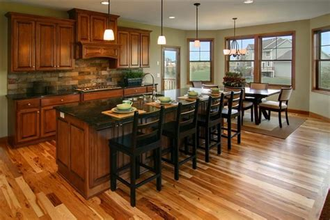 kitchen with cherry cabinets and hickory floors kitchen