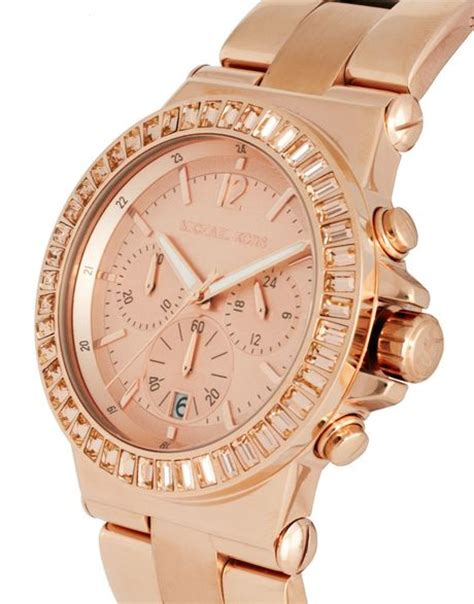 michael kors e gold chronograph in pink lyst