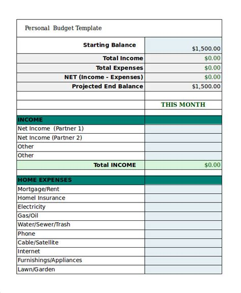 Free Personal Budget Template 9 Free Excel Pdf Documents Download Free Premium Templates Home Budget Template