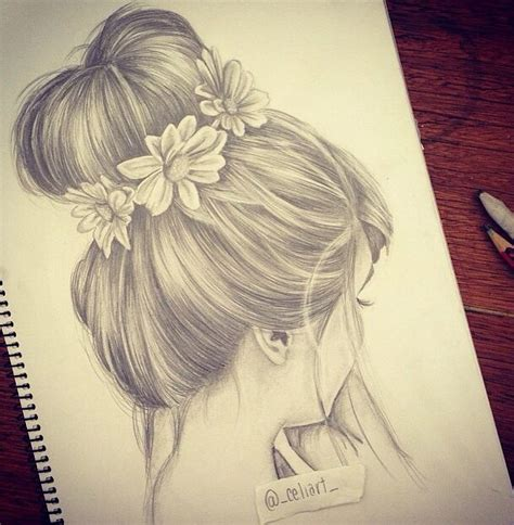 Sketches Hair by Bun Drawing Hair Drawings Style Buns
