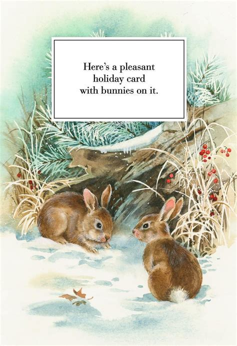 Pleasant Bunnies Christmas Card   Greeting Cards   Hallmark