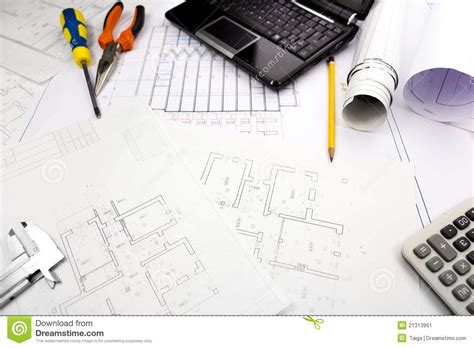 Free Drafting Program blueprints background with computer and tools stock image