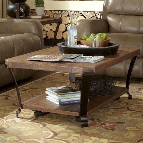 flexsteel kenwood rectangular cocktail table with casters
