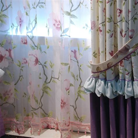 toile print curtains fresh country style print floral toile eco friendly curtains