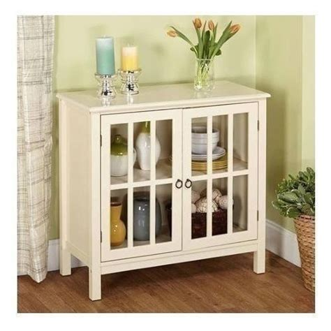 White Display Cabinet With Glass Doors New White Floor Cabinet Curio Display Storage Buffet 2 Glass Doors Ebay