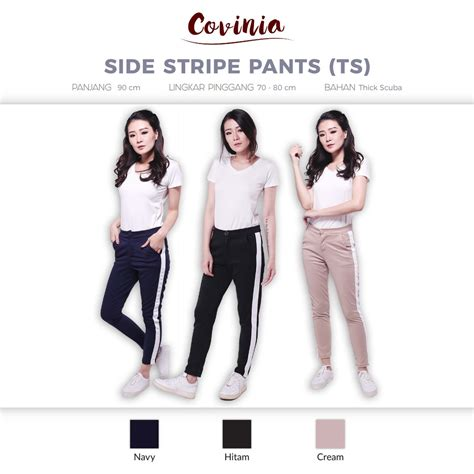 Celana Panjang Hitam Pant Trouser Korean Import Af T 03 crg171242 side stripe thick scuba celana korea panjang list putih side list