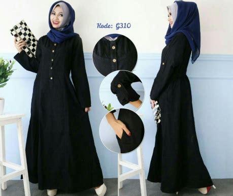 Setelan Klok Anjani gamis hitam polos g310 baju style ootd